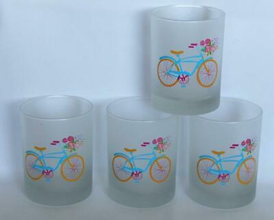 4 Culver Frosted Bike Bicycle Flower Basket DOF LowBall Glass Tumblers NEW HTF