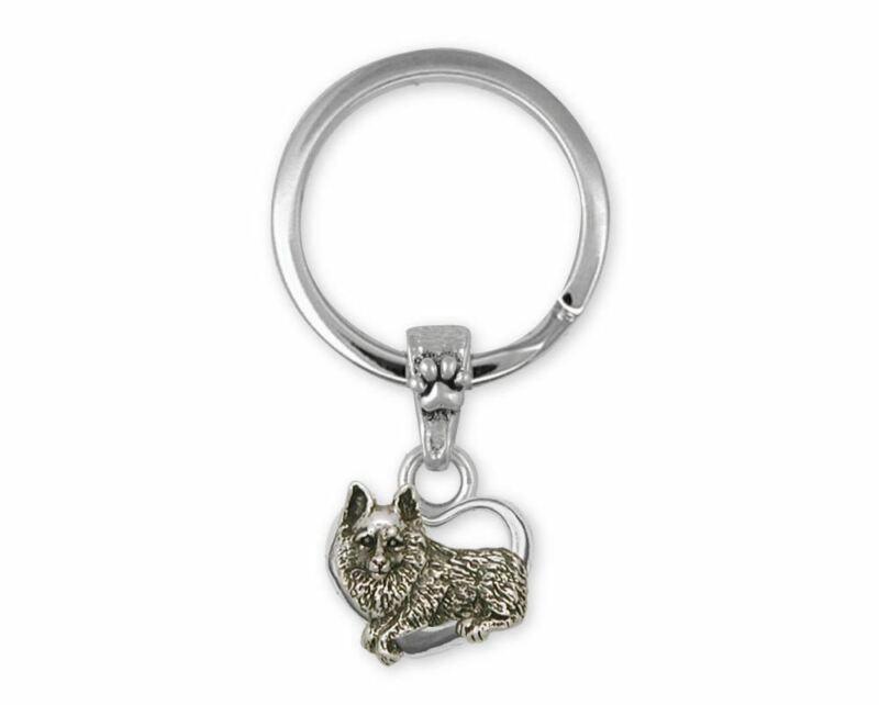 Schipperke Jewelry Sterling Silver Schipperke Key Ring Handmade Dog Jewelry SC5-