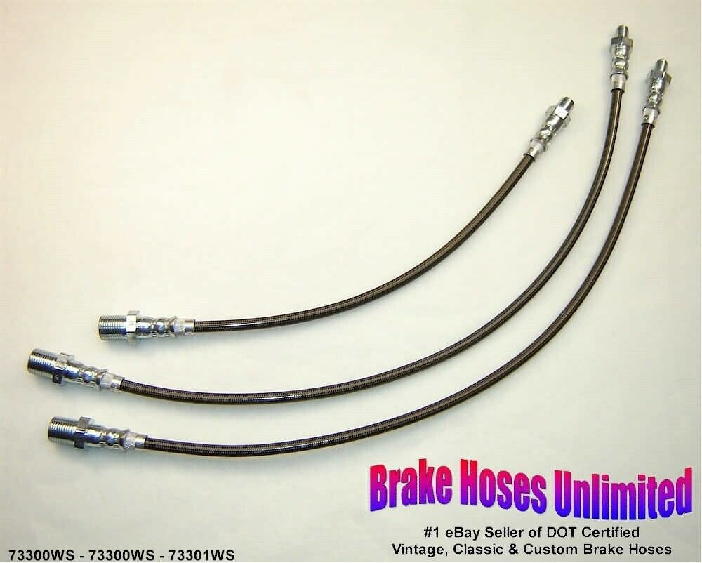 STAINLESS BRAKE HOSE SET Scout 1968 1969 w/RA-9, 6 cyl