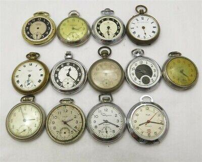 Lot of 13 Vintage Dollar Pocket Watches~ Ingraham, Westclox, Ingersoll, Lenox