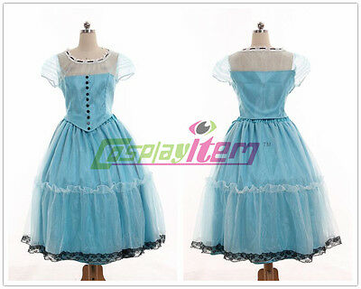Alice In Wonderland Cosplay Tim Burton's Alice Blue Dress Costume Cosplay Custom