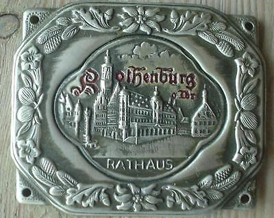 Trachtenapplikation Prägebild Rothenburg o.d.Tbr Rathaus Metall Enzian Edelweiß