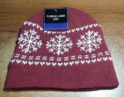 Maroon Mens Womens KNIT FLEECE Lined Beanie Hat Cap Warm Winter SnowFlake NWT Snowflake Knit Hat