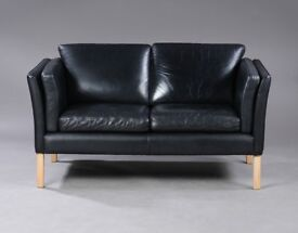 Danish vintage Borge Mogensen style black leather two seater sofa