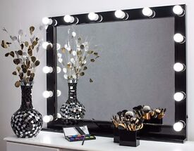 Large LED Bulbs Hollywood Vanity Makeup Mirror Lighted Mirror 100х80 cm