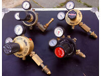 4 x SAFFIRE MUREX TWIN GUAGE GAS REGULATORS - Oxygen Nitrogen Acetylene Multi-Stage Welding Welder