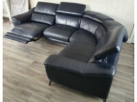 Blue Premium Leather 5 Seater Corner Sofa with Recliner and USB [Great Condition]