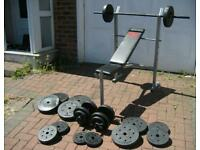 Barbell Dumbells Incline Bench and 77.5kg Weights