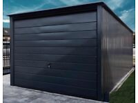 Metal garage 3mx5m 10ft x 17ft Graphite Design Line | Cheap steel garages