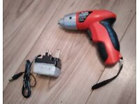Small cordless screwdriver with charger
