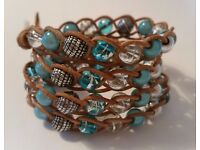 Triple to Quad, (3 - 4 way) silver / turquoise braided wrap bracelet with Magic / Miracle beads