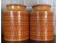 7 Retro Hornsea Saffron storage jars