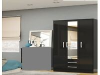 BRAND NEW 3 DOOR WARDROBE WITH MIRRORs IN BLACK OR WHITE AS IN PIC