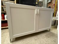 IKEA Besta Cabinet - white stained oak effect with white doors, glass top and metal legs