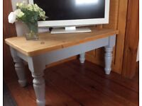 Shabby Chic Coffee Table fully restored - wood top with grey eggshell painted legs