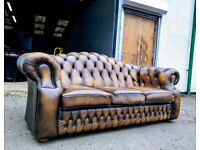 3 Seater antique gold chesterfield sofa by Saxon DELIVERY AVAILABLE