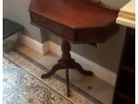 Antique half-hexagonal hallway table, beautiful solid mahogany