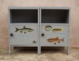 On Trend Pair Of Vintage Fish Nightstands