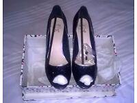 Tallulah Blue Glitter Shoes Size 7 Euro 40 Party Wedding