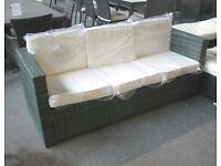 Ex Display Grey Rattan 3 Seat Sofa Outdoor Garden Furniture