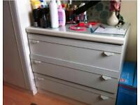 2 Doors separate wardrobes & one 3 drawer matchest in White Self design Gloss Bedroom Set