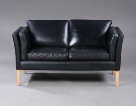 Danish vintage Borge Mogensen style black leather two seater sofa