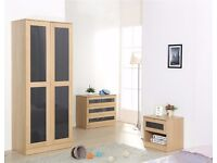 Light Oak with Grey High Gloss inserts set-Wardrobe, Chest & Bedside **FREE DELIVERY UPTO 50 MILES**