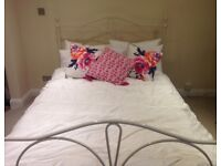 CREAM METAL BED FRAME + MATTRESS OPEN TO OFFERS NEED A QUICK SALE