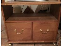Solid wood tv stand with draws