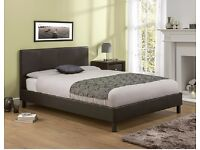 LIMITED OFFER - DOUBLE LEATHER BED WITH ORTHOPEDIC MATTRESS BLACK/BROWN