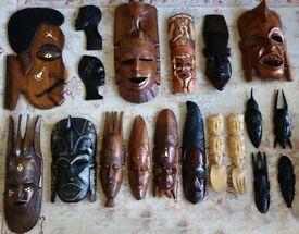 African Masks, Plaques and Spoons. Excellent condition.