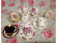 Vintage mismatched tea cups