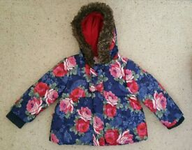 Monsoon flower print Girls toddler coat age 12-18 months