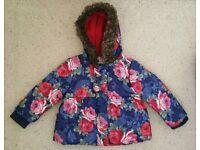 Monsoon flower print Girls toddler coat age 12-18 months