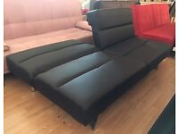 New 'Vienna' 3 Seater Black Faux Leather Sofa Bed (Free Local Delivery)