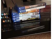 Ps4, 2 controllers, charging station, 6 games