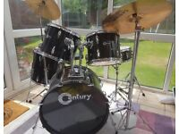 Century drum kit, 5 drums, 3 cymbals & stool & sticks