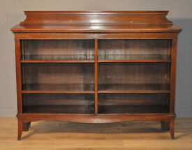 Attractive Large Wide Antique Edwardian Walnut Open Floor Bookcase Shelves