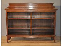 Attractive Large Wide Antique Edwardian Walnut Open Floor Bookcase Shelves