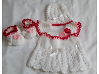 Handmade baby dress with hat and shoes