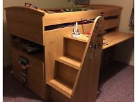 Cabin Bed with Pull Out Desk, Shelves, Drawers and Den