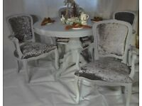 Refurbished Shabby Chic Round Italian Dining Table & 4 French Louis Style Carver Chairs