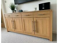 Oak effect large sideboard living room furniture cupboard drawers