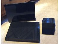 8 Setting John Lewis Black Granite Dinner Place Mats & Coasters Outstanding Con. £75.
