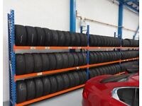 TRIPLE TYRE STORAGE RACK RACKING. HEAVY DUTY. BRITISH MADE. 842cm LONG x 247cm HIGH (27ft 8in x 8ft)
