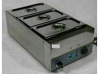 Wet Bain Marie 3X GN 1/3 Pans, Lids and Tap Digital Commercial