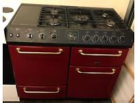 Black and red belling farmhouse range cooker