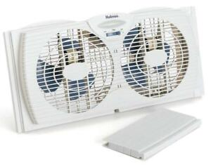 NEW Holmes Dual Blade Twin Window Fan, White