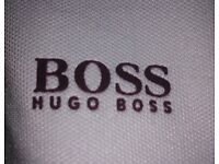 HUGO BOSS White and Blue Zip Top Green Label size S