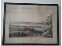 Antique (1824) Colour Etching of Cromarty in Highlands of Scotland